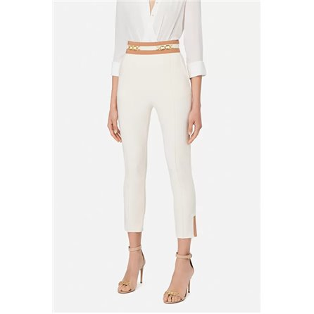 ELISABETTA FRANCHI - Pantalone Skinny Bicolor Burro/Rose Gold