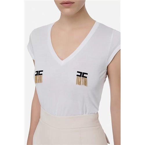 ELISABETTA FRANCHI - T-Shirt Con Logo Gesso