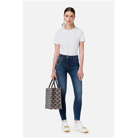 ELISABETTA FRANCHI - Jeans Con Accessorio Pendente Blue Vintage
